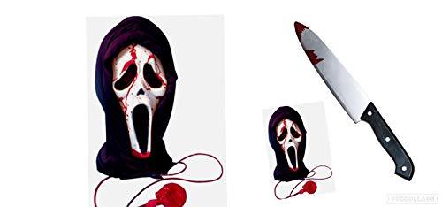 Seemeinthat Bludy Scream Maske mit falscher Kunststoff-Messerstütze für die ikonische Halloween-Füllung. Pumpen Sie Das gefälschte Blut um die Maske, um den Blutungseffekt zu geben