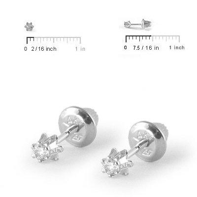 Earrings Baby Girl Jewelry 14k White Gold Diamond Screw Back