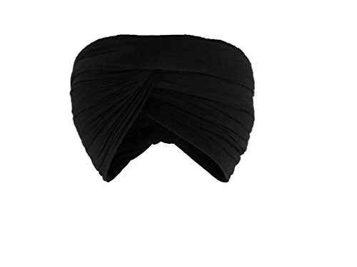 Gurdip Store Men's Un-Stitched with mid-seam Casual 5 mtr Cotton Black Turban...