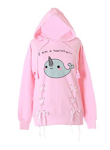 Wal-jumper (TS-187-2 Rosa Unicorn Wal Pastel Goth Lolita Kapuzen-Pullover Sweatshirt Harajuku Kawaii)