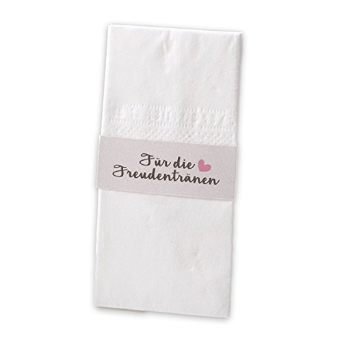8x Taschentuchhalter 'Für die Freudentränen' grau rosa Banderole Perlmutt Hochzeit Kirchenheft