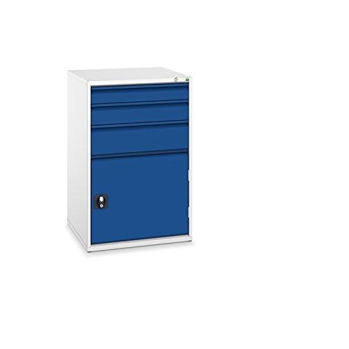 bott verso+ Schubladenschrank mit 3 Schubladen, 1 Tür und Zentralschloss, 650 x 650 x 1000 mm, 1...