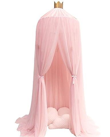 Baldachin Kinderzimmer Betthimmel Moskitonetz Kinderbett Romantische Kuschel- und Leseecke mit Himmelbett für ein Kinderzimmer (Rosa, Weiß, Khaki, Grau) Creti