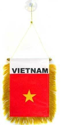 AZ FLAG Fanion Vietnam 15x10cm - Mini Drapeau vietnamien 10 x 15 cm spécial Voiture - Bannière