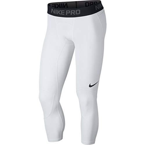 Nike Herren M NP Dry 3QT Bball Tights, White/Black, L (4 Leggings Basketball 3)