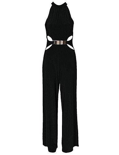 GSP-Combinaisons Aux femmes Sans Manches Sexy/Soirée Autres Epais Micro-élastique black-l