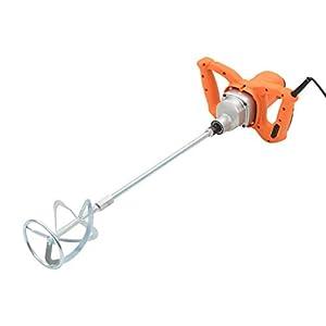 Nishore Mezclador Batidor Electrico Hormigonera Batidora de Pintura y Mortero Velocidad Unica 1200 W Velocidad Ajustable (Naranja)