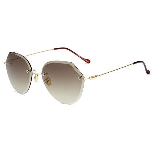 Easy Go Shopping Mode Damen Sonnenbrillen Großhandel Trend Frameless Sonnenbrillen geschnitten Rand Progressive Farbe reflektierende Sonnenbrille. (Color : 3)