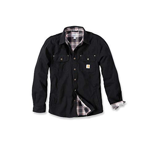 Carhartt Arbeitshemd, arbeitsshirt, Arbeitsjacke Weathered Canvas Shirt Jacket, Black, XL