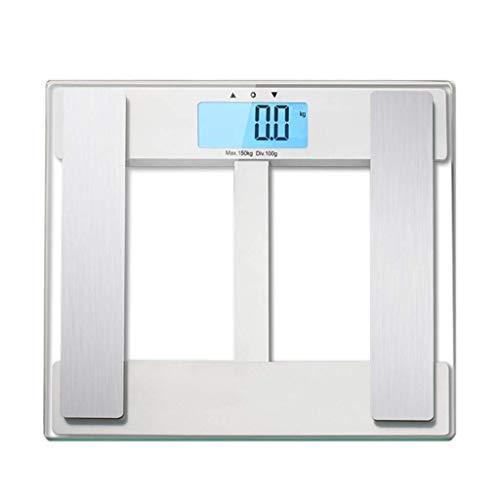 IRVING Báscula de baño de Peso Corporal Digital, Pantalla Grande de retroiluminación LCD Azul, mediciones de Alta precisión, 6kg-150kg (Color : Blanco)