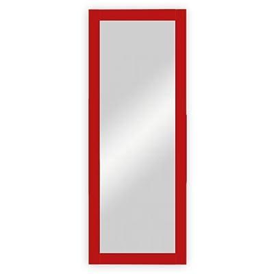 Wand- / Garderobenspiegel mit Holzrahmen, rot lackiert - ca. 45 x 170 cm