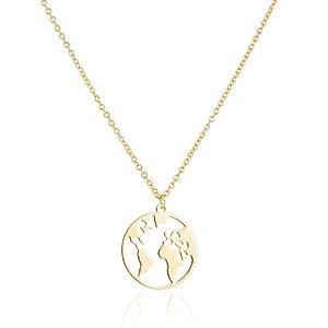 GD GOOD.designs EST. 2015 ® Damen Weltkugel Halskette (Kettenlänge 40 + 5cm) mit Weltkarte (Herz) Anhänger