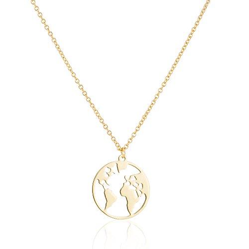 GD GOOD.designs EST. 2015 Damen r Roségold, Weltkette Kettenlänge 45 cm (Gold)