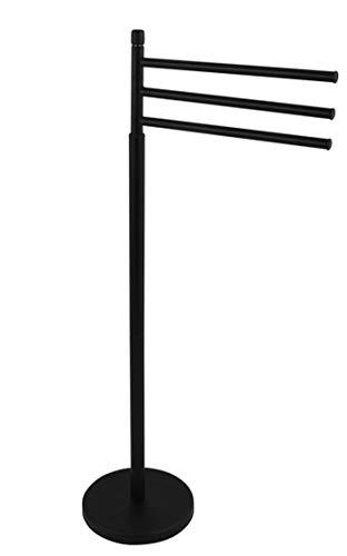 MSV Ella - Toallero con 3 Barras móviles para Toallas de baño y Otros Textiles, toallero de Acero Inoxidable con Barra orientable, también como pequeño Perchero de pie, Color Negro Mate