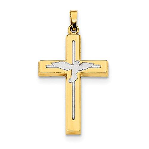 Halskette mit Kreuz-Anhänger, rhodiniertes Gold und Silber, 14 Karat, rhodiniert, poliertes und satiniertes Kreuz mit Tauben-Anhänger
