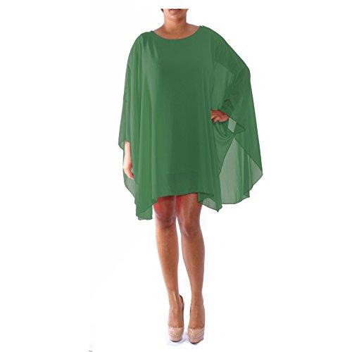 Top oversize da donna a maniche lunghe a pipistrello in chiffon Green