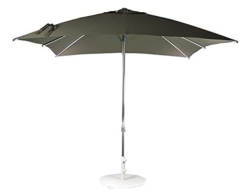 Parasol (Ombrelle) de Protection Solaire | Gris Taupe | 250 x 250 cm | Carré | SORARA – MILANO | Polyester 250 g/m² (UV 50+) | Système « Push-Up » | Largeur du mât ø 38 mm (à l'exclusion du Pied de