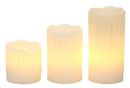 Stella LED luce delle candele con cera reale, tremolanti, contenitore di batteria bianco caldo LED azionato set, 3 pezzi 05.07.10 x 5 cm, bianco 067-88