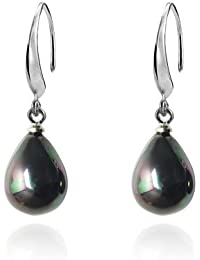 Lureme Lágrima Negro Pearl Plata Tone French Hook Dangle Aretes for Women and Teen chicas 02001445*