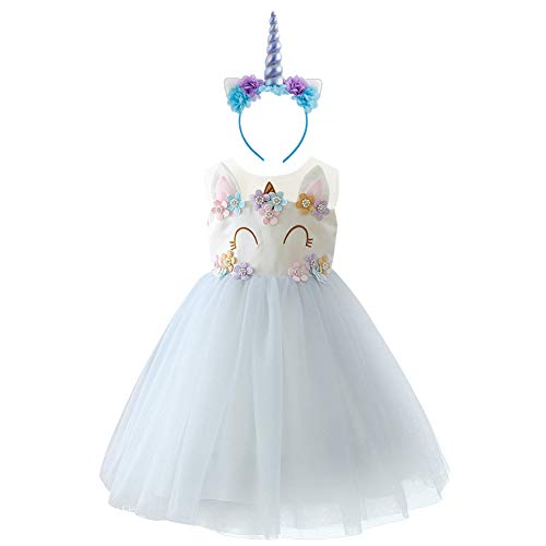 OBEEII Mädchen Einhorn Kostüm Cosplay Kleid Party Outfit Kostüm Prinzessin Tutu Rock für Festival Performance Geburtstag Karneval Halloween Fotoshooting für Kinder Jugendliche 10-11 Jahre