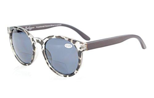 Eyekepper Wood Arms Federscharniere Polycarbonat polarisierter Bifokalwillen Sonnenbrille Runde Sonnenscheinleser Grau Tortoise+2.0