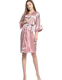 0293688169 HUIFANG Vestido De Damas Cuello En V Servicio De Hogar De Seda Albornoces  Novia Pijamas Sexy Vestidos Camisa Larga con Bolsillo S-L (Color…