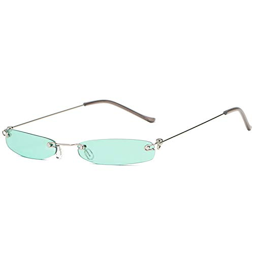YUHANGH Vintage Sonnenbrille Frauen Kleine Schmale Sonnenbrille Retro Rechteck Sonnenbrille Weibliche Brillen Randlose Shades