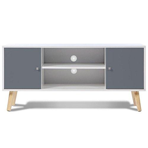 IDMarket - Meuble TV EFFIE scandinave 2 portes bois blanc et gris