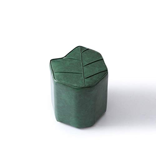 AD Sofatisch, Hocker, Tischfußhocker, Sofabank, Schuhbank, Designerhocker Mode Ins Netz Roter Hocker Kreative Sofahocker Persönlichkeit Lederbank Blätter Sitzen Pier (Color : Dark Green) -