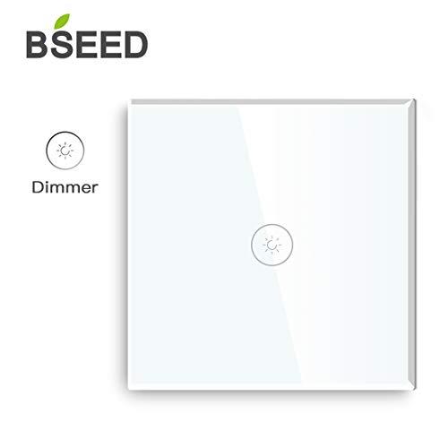 BSEED Glasdimmer mit Touch-Schalter LED-kompatibler Smart-Lichtschalter 1 Gang 2-Wege-Weiß (2 Gang-schalter)