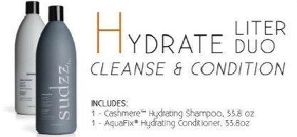 Sudzz Cashmere Hydrating Shampoo & Aquafix Hydrating Conditioner Liter DUO Set (33.8 oz) by Sudzz