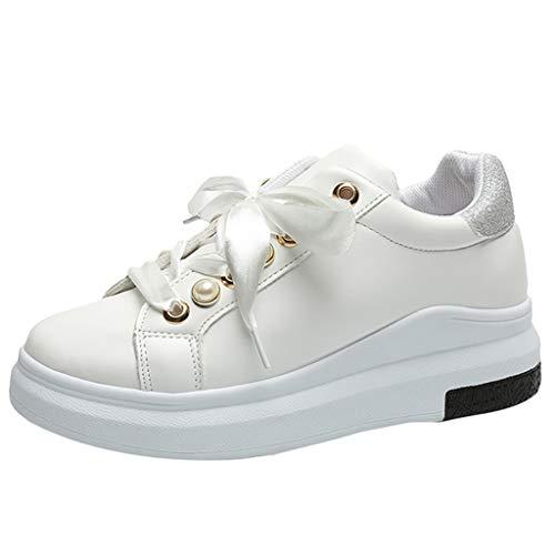 Dorical Damen Platform Sneaker Turnschuhe Perle Weiße Sportschuhe Elegant Freizeitschuhe(Weiß,41 EU)