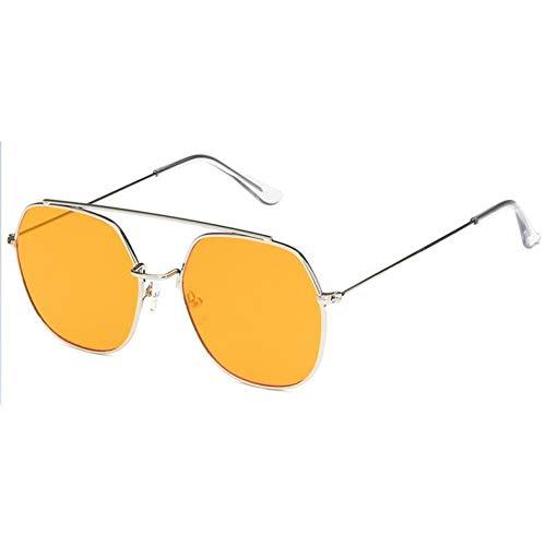 Shihuam Sonnenbrillen Frauen Retro Männer Er Sonnenbrille Vintage Gradient Clear Metal Frame Gläser,Silber orange