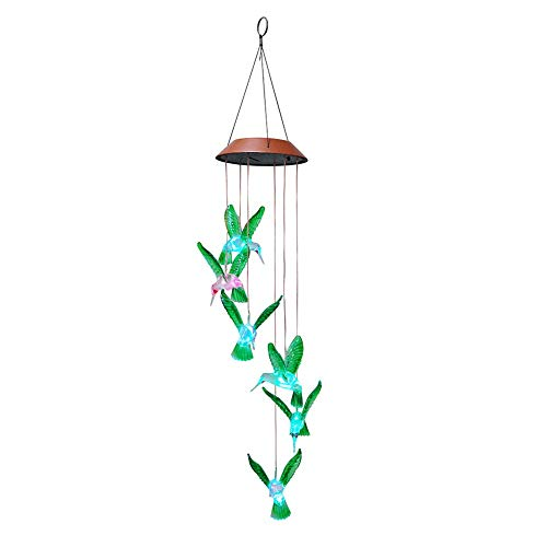 Seoimte Solarbetriebene farbwechselnde LED Windspiel im Freien hängende Wind Glocke dekorative Lampe für Patio Garden Home Decor -