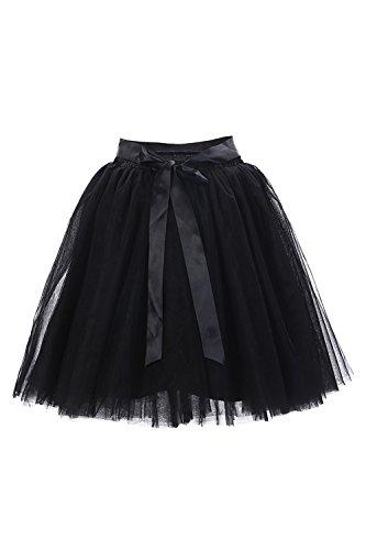 Babyonline® Damen Prinzessin Falten Rock Vintage Kleid Spitzen Rock Midirock Ballettrock Tüllrock Unterrock Knielang, Schwarz, One Size / Einheitsgröße