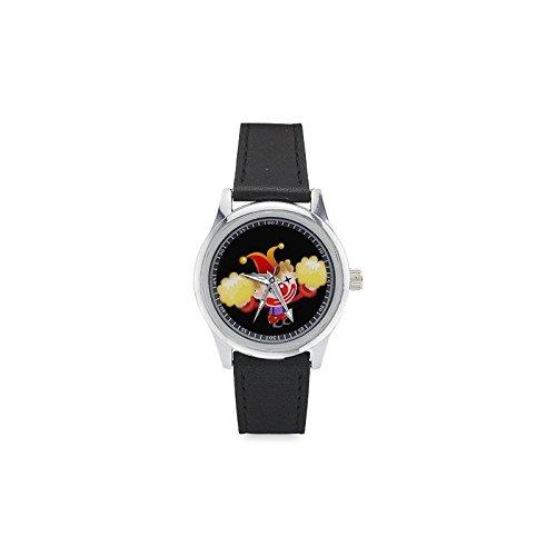 Happy Clown Jubelnde bis Cartoon Stil Kids 'Edelstahl Armbanduhr mit Leder Band Mädchen Jungen-Armbanduhr Time Teacher Watch für Kinder Kleinkind Kinder