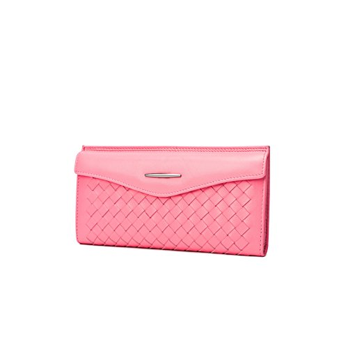 Yvonnelee Delle donne del cuoio genuino portafogli borsa esclusiva Long Bifold cassa Rosa 1