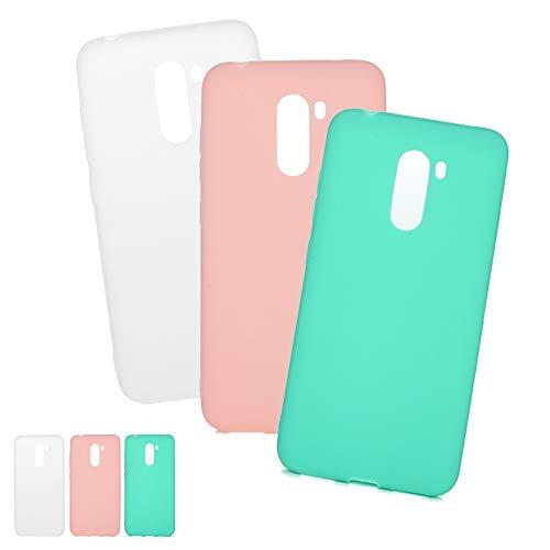 3 X Coques Xiaomi Pocophone F1, LaVibe Étui Gel Silicone TPU Bonbon Design Protecteur Housse Anti-Rayures Pare-Chocs Bumper Souple Ultra Slim Flexible Soft Case Cover - Mint Green