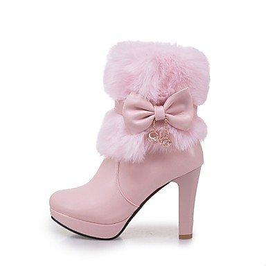 Rtry Femmes Chaussures Similicuir Mode Hiver Bottes Bottes Chunky Talon Bout Rond Bout / Bottes Bowknot Pour Vêtements De Travail Rougeurs Rose Us5 / Eu35 / Uk3 / Cn34