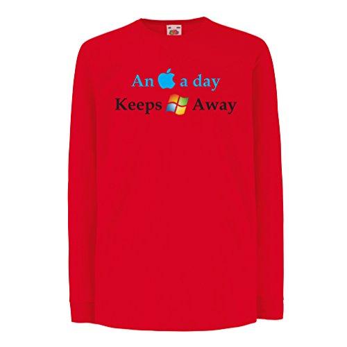 lepni.me Kinder-T-Shirt mit Langen Ärmeln Ein Apfel am Tag - Lustige Sprüche, Große ungewöhnliche Geschenk-Ideen (7-8 years Rot Mehrfarben)