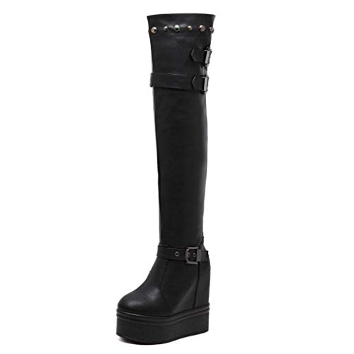 LIANGXIE Womens Ladies OVE The Knee HIGH Boots/Platform Invisible Höhe 10cm Keilhaut-High Boots Warm Stretch Thigh HIGH Langen Boots,Black,35