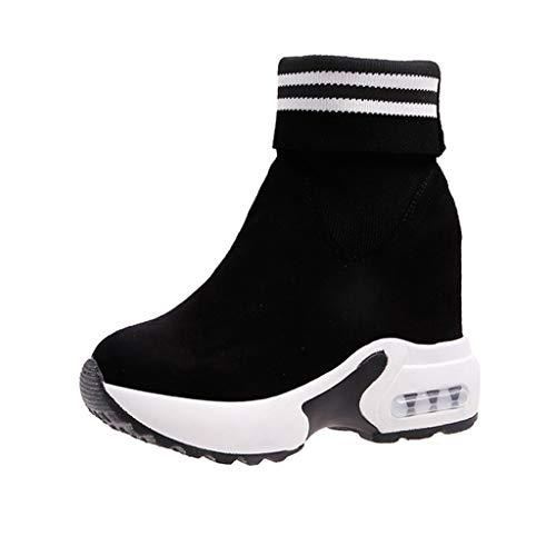 generisch Damen Atmungsaktiv Wanderschuhe Mesh-Bequeme Schuhe Gummistiefel Frauen Stiefel Square Heels Schnalle Lässige Mode Classic Tall Halbschaft Stiefel -