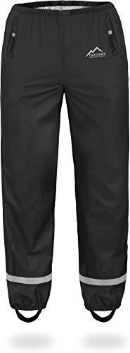 normani Kinder-Regenhose 2-Wege-Stretch Überziehhose Unisex für Jungen und Mädchen ungefüttert - Wasserdicht (Wassersäule: 5000 mm, Winddicht und Atmungsaktiv Farbe Grau Größe XL/158-164 (Junge Gril)