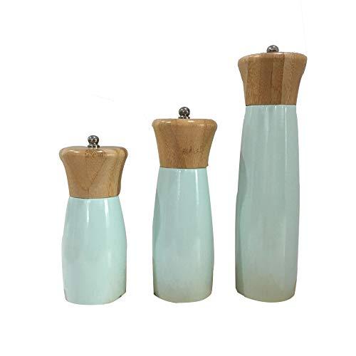 Hhalibaba Holz Salz und Pfeffermühle aus Bambus, Design mit langlebigem Keramikmahlwerk, Salz Pfeffer Flasche Grün (3er Set)