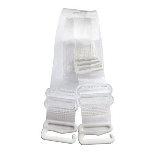 DoHope Damen Transparent BH-Träger Einstellbar Durchsichtige Unsichtbar BH Träger mit Metallhaken (Bandbreiten: 10mm, 1 Paar)