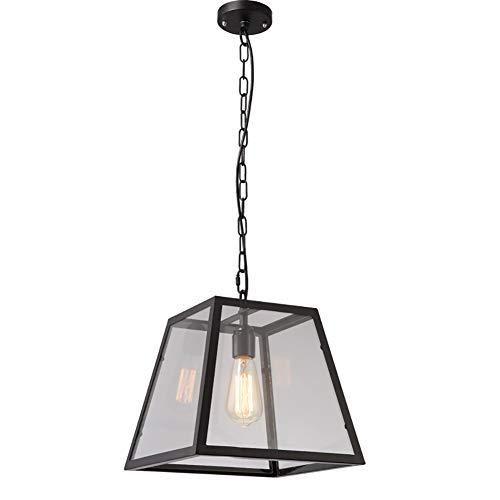 BERGHT Traditionelle Glaspendelleuchteindustrielle Retro Eisen-leuchter-Befestigung,klarglasschirm Für Küche Und Esszimmer,E26-sockel, Schwarz (lampen Nicht Enthalten) -