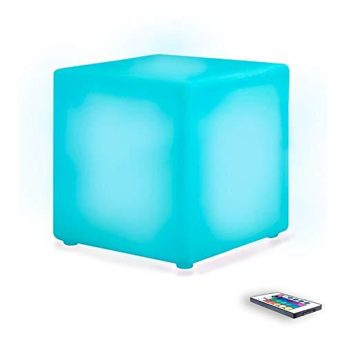 MERVY Cube LED Sitzsack Couchtisch Hocker 40cm beleuchtet Mehrfarbig +...