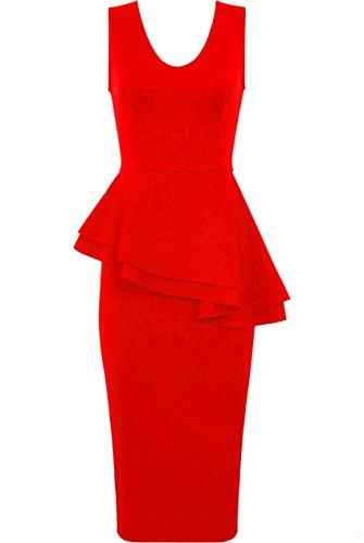 Fast Fashion - Robe Sans Manches Peplum Bodycon De Soirée Tunique Midi Côté Proue Slant Plaine - Femmes Rouge