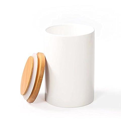 Récipient Bocal, 77L Pot récipient en céramique avec couvercle en bambou hermétique Blanc-Design Moderne en céramique Conservation alimentaire pour servir de thé, café, épices et bien plus encore