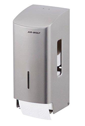AIR-WOLF WC-Papierspender, 2 Rollen, Edelstahl gebürstet, Serie Gamma II